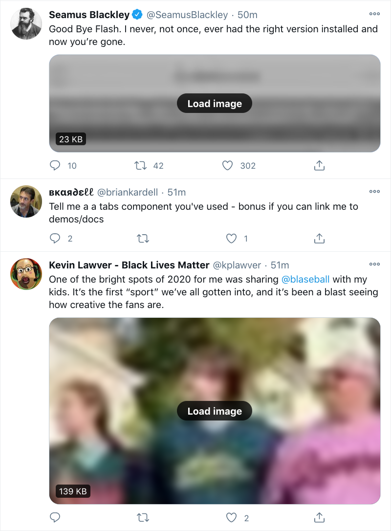 A screenshot of the author's Twitter timeline, showing three tweets.  The middle tweet is text only.  The top tweet has a blurred-out image which is grayscale and of reduced contrast, indicating it has no useful alternative text.  The bottom tweet is also blurred, but it full color and contrast, indicating it has been given useful alternative text by the person who posted it.