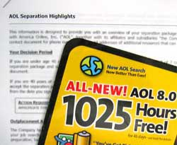 A closeup picture of an AOL 8.0 CS sitting on top of the first pages of Eric's separation agreement.