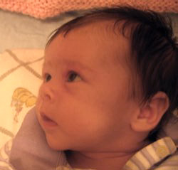 A closeup picture of a baby girl's face in profile, looking off to the left with an expression not unlike wonder.  Or perhaps hunger.