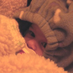 A picture of Carolyn's eyes peeking out from under a snowsuit hood and over a fluffy blanket, the two of which are surrounding her in an attempt to keep the cold at bay.