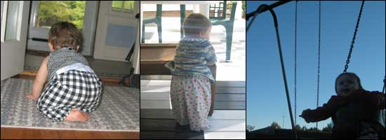 Three pictures: one of her crawling away from the camera, one of her standing against a table, and one of her on a playground swing.