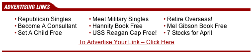 A set of nine advertising links, of which four are clearly to the right of the political spectrum, and another two could be considered to be so.  The four are: 'Republican singles', 'Hannity Book Free', 'USS Reagan Cap Free', and 'Mel Gibson Book Free'.  The two are 'Meet military singles' and 'Retire Overseas!'.