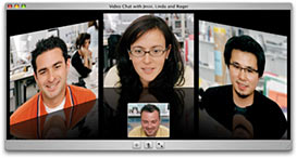 A picture of the iChat AV interface for OS X 10.4.