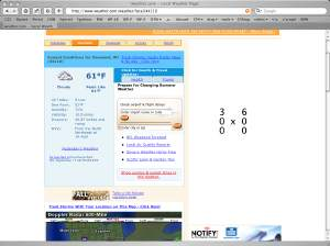 A screenshot from weather.com showing a '300 x 600' placeholder in one of the advertisement spots.