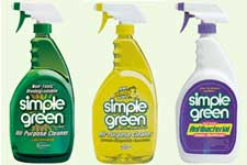 A picture of three bottles of the general-purpose cleaner 'Simple Green'.  The first contains a dark green liquid, as you might except given its name.  The second contains yellow (lemon-scented) liquid, yet is still called 'Simple Green'.  The third is a white bottle with a purple label; again, it has the name 'Simple Green' prominently displayed.