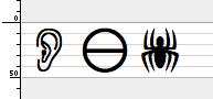 (A screenshot of the symbols expected from Webdings: an ear, a circle with a line through the middle, and a spider.)