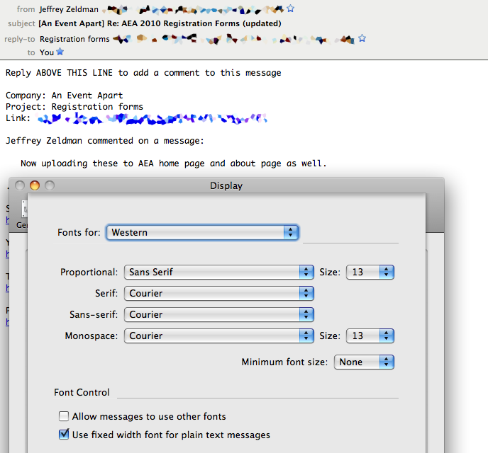 A screenshot showing that all the relevant preferences have been set over top of a mail message which clearly violates the preference settings by displaying the message in a different font and font size.