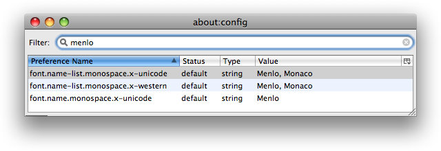 A screenshot of about:config (a.k.a. the Config Editor) showing the results of a search for the term