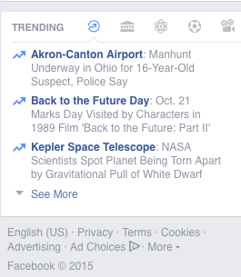 "A screen capture of Facebook's ""Trending"" panel."