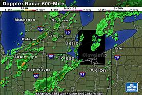 From The Weather Channel: A big black square blotting out most of Lake Erie and the north edge of Ohio